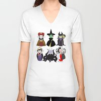 evil V-neck T-shirts featuring Evil kokeshis by Pendientera