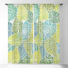Tropical Leaves Alocasia Elephant Ear Plant Blue Green Sheer Curtain