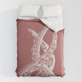 Woodcut Style Cthulu Octopus Tentacles on Pink Background Comforters