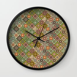 Vintage patchwork with floral mandala elements Wall Clock
