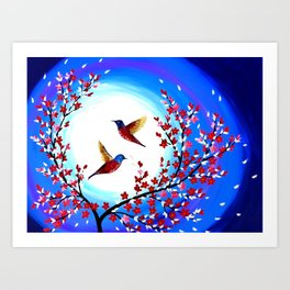 Red Cherry Blossom Art Print