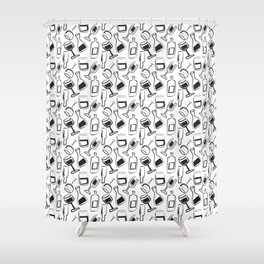 Wine Lovers Illustrated Wine Glasses and Wine Bottles Shower Curtain