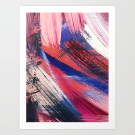 Los Angeles: A vibrant, abstract piece in reds and blues by Alyssa Hamilton Art Art Print