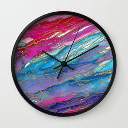 AGATE MAGIC PinkAqua Red Lavender, Marble Geode Natural Stone Inspired Watercolor Abstract Painting Wall Clock