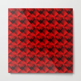 Optical cruciform rectangles of red squares in the dark. Metal Print