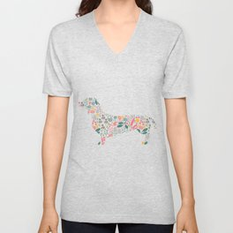 Dachshund Floral Watercolor Art Unisex V-Neck