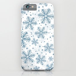 Blue snowflakes pattern iPhone Case