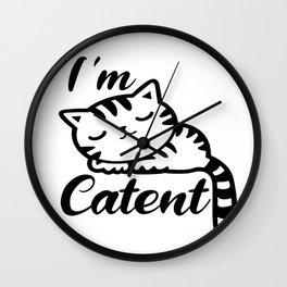 I'm Catent - Content White Sleeping Kitty Cat Wall Clock