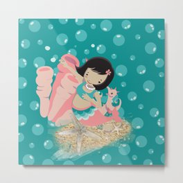 Mermaid and Bubbles Metal Print