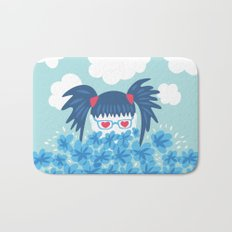 Geek Girl With Heart Shaped Eyes And Blue Flowers Bath Mat