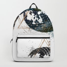Moon Abstract Art Print Watercolour & Gold Ink Moon Phases Print Backpack