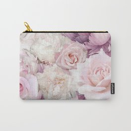 Big Pink Roses And Soft Summer Botanical Rose Garden Carry-All Pouch