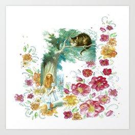 Floral Alice In Wonderland Art Print