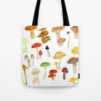 mushrooms Tote Bags featuring Mushrooms by Lara Paulussen