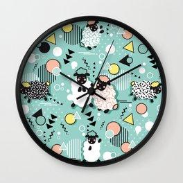 Mééé Memphis sheep // mint background Wall Clock