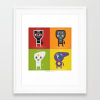 xbox Framed Art Prints featuring controllers ~ nintendo, turbografx, gamecube, and xbox by datamouth
