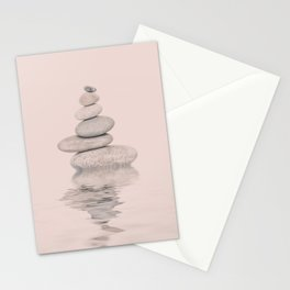 Balanced Harmony Zen Pebble soft pink Stationery Cards