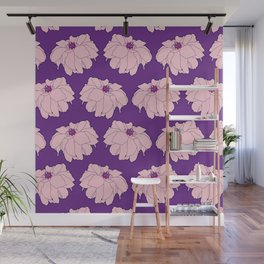 Pink Dahlia Flower Illustrated Print Wall Mural