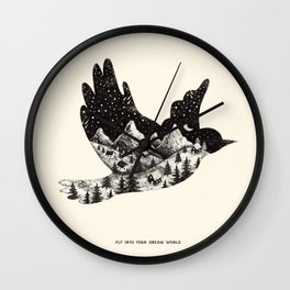 FLY INTO YOUR DREAM WORLD Wall Clock