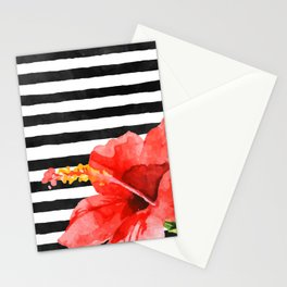 Tropical flower on stripes Stationery Cards