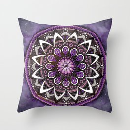 Crown Chakra Purpe Mandala Throw Pillow