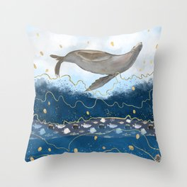 Flying Seal - Rising Waters Surreal Climate Change  Throw Pillow