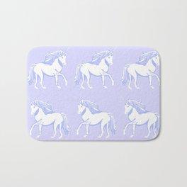 Lavender and White Unicorns Pattern Bath Mat