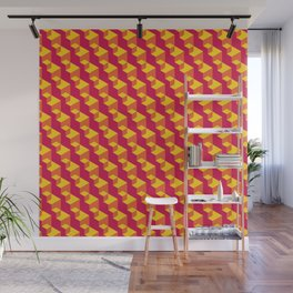 Isometric Red & Yellow Wall Mural