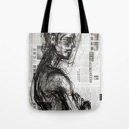 Waiting - Charcoal on Newspaper Figure Drawing Tote Bag