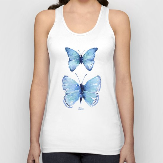 Two Blue Butterflies Watercolor Animals Insects Unisex Tank Top