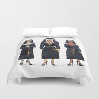 sister Duvet Covers featuring Holy Moly by Torrinika