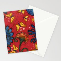 Batik butterflies and flowers on red Stationery Cards