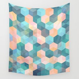 Child's Play 2 - hexagon pattern in soft blue, pink, peach & aqua Wall Tapestry