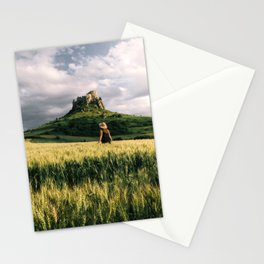 Medieval Castle in Slovakia Unesco Europe landscape person sunset grainfield Stationery Cards