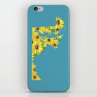 maryland iPhone & iPod Skins featuring Maryland in Flowers by Ursula Rodgers
