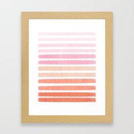 Camil - ombre gradient brushstrokes abstract painting minimalist seaside coastal beach cottage decor Framed Art Print