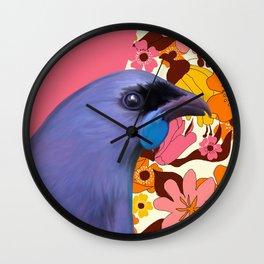 Kokako with Retro Floral Wallpaper Wall Clock