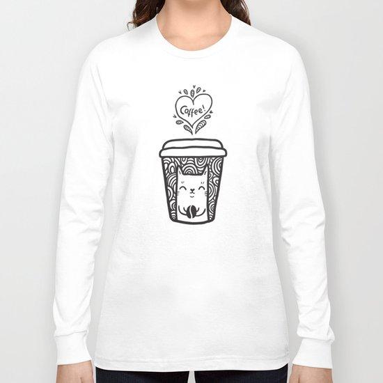 Doodle coffee cat Long Sleeve T-shirt