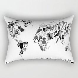 world map music black and white 1 Rectangular Pillow