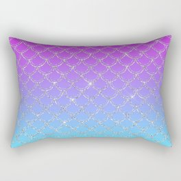 Gradient Mermaid Scales Rectangular Pillow