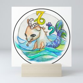 Whimsical Capricorn Astrology Sun Sign Illustration Mini Art Print