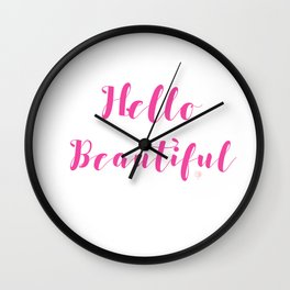 Hello Beautiful lettering Wall Clock