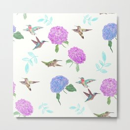 seamless  pattern with flowers and hummingbirds watercolor Metal Print