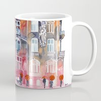 takmaj Mugs featuring Apartment House in Poznan and orange umbrellas by takmaj