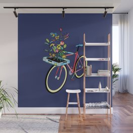 Bike and Flowers Wall Mural