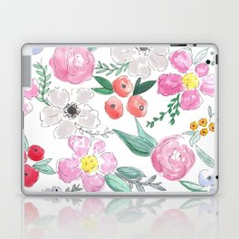 Floral Peony and Rose Watercolor Print  Laptop & iPad Skin
