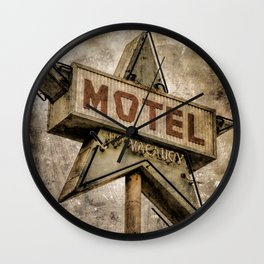 Vntage Grunge Star Motel Sign Wall Clock
