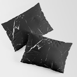 Gentle Fracture - Black And White Abstract Marble Pattern Minimalist Pillow Sham