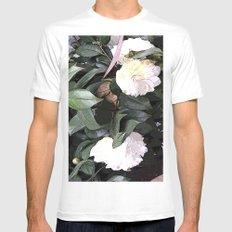 White Camellia MEDIUM White Mens Fitted Tee
