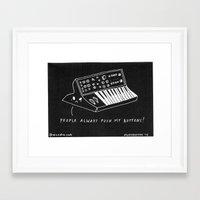 pun Framed Art Prints featuring Moog pun by Alxndra Cook